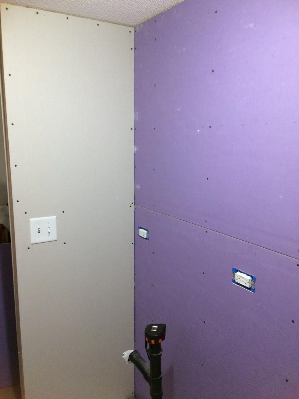 Purple Drywall Bathroom Ceiling